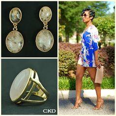 Anel e brincos com quartzo rosa!! www.ckdsemijoias.com.br