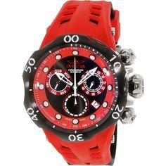 Invicta Men's Venom 16987 Red Rubber Swiss Quartz Watch