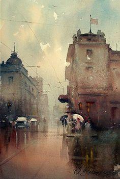 Rainy day, watercolor, 44x30 cm, by Dusan Djukaric