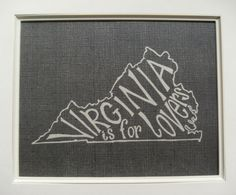 Virginia is for Lovers - White on Black - 8x10 Illustrated Print. $18.00, via Etsy. For the soon to be gallery wall. Place next to images of casa de richa/sheehan in all four seasons!