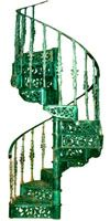 green cast iron spiral staircase