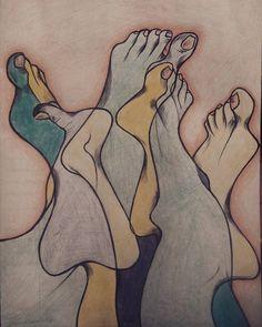 Pies arrunchados/ Colores sobre papel/ Por: Daniela Batalla