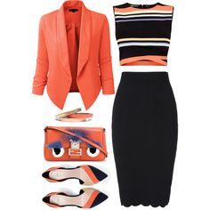 Coral Blazer and shirt. not the black skirt tho. Dope Outfits, Classy Outfits, Skirt Outfits, Fashion Outfits, Orange Blazer Outfits, Coral Blazer, Fashion Now, Work Fashion, Fashion Brands