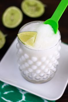 Frozen Coconut Limeade! Take away the sugar, maybe add a hint of honey and this is a great summer treat.