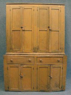 Two Part Four Door Cupboard In Yellow Paint