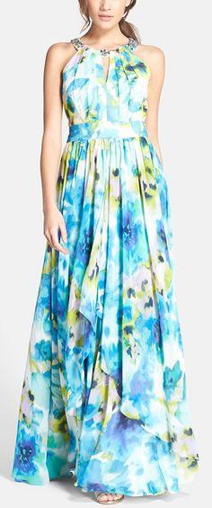 watercolor print maxi dress