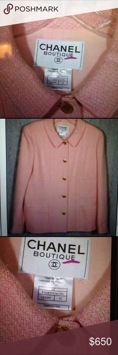 """Wow HP♥ Chanel Runway Tweed Jacket CC Buttons Stunning Pink Chanel Tweed with CC buttons, CC Silk Lining - many CC buttons abound!  ⭐Exclusive Chanel Runway design  ⭐sz 42, or like US 7/8 9/10 wears loosely not tight ⭐app. 26"""" long! WEAR belted for high fashion RUNWAY style!  ⭐ see my other rare Chanel ⭐Burberry Halston GUCCI Dior D&G more! ⭐GREAT office to evenings!  ⭐NO Trades on any ⭐CHANEL JACKET is Stunning & mint!  ⭐SERIOUS BUYERS ONLY CHANEL Jackets & Coats Blazers"""