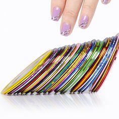 1 롤 새로운 아름다움 장식 스티커 손톱 케어 네일 롤스 스트라이핑 테이프 라인 DIY 네일 아트 팁 혼합 색상