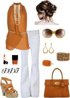 """""""Brunt Orange with White Jeans"""" by dawndayiannelli on Polyvore"""