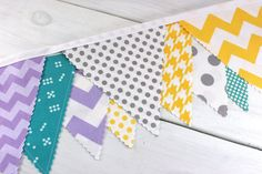 Bunting Banner Fabric Flags Nursery Decor by thespottedbarn Fabric Bunting, Bunting Banner, Turquoise Fabric, Turquoise Chevron, Camper Interior Design, Nursery Decor, Nursery Ideas, House Warming, Color Schemes