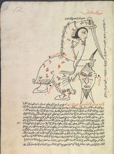 Perseus (barshawush, or hamil ra's al-ghul), the bearer of the demon's head. folio 12. Perseus [Ṣuwar al-kawākib] [صور الكواكب] Creator: Ṣūfī, ʻAbd al-Raḥmān ibn ʻUmar, 903-986 صوفي، عبد الرحمن بن عمر Origin: [1607] According to the colophon, copied on 4 Ramaḍān 1015 (fol. 40b). Reading statement in the name of Ibrāhīm ibn al-Shaykh Muḥammad, Jumādá al-Ulá 1114 [1702] (fol. 43b).
