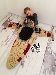 Keep the Force Warm at any Stage of your Jedi training!!! Crocheted X-Wing blanket!