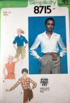 Vintage 1970s womens pattern -- Simplicity blouse and tie belt size 14 UNCUT