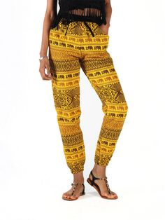 Vita Women's Black and Yellow Patterned Jogger Pants – The Elephant Pants