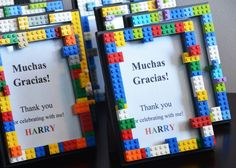 Lego Party favors -- yes! Picture frames!