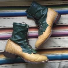 Vintage Justin Boots Funky and unique vintage Justin boots, ostrich leather and green leather. Perfect condition, these will last for years and I've never seen anything else like them. Size 10 women's, size 8 men's. Justin Shoes Lace Up Boots
