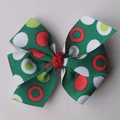 Medium 3 inch Pinwheel Bow Green Fashion Dot by KatiebugBows, $4.00