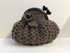 Crochet Bag  Crochet Purse with metal frame in grey by ClaudiaArty, £12.00