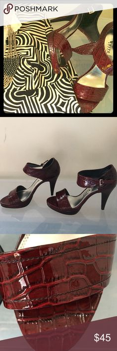 Strappy oxblood croc heels Croc-embossed oxblood platform heels dress up black and white, give zest to denim. Tiny tear on left heel can be easily glued. Excellent condition! EUC, box. (Trina Turk dress in my closet) White House Black Market Shoes Heels