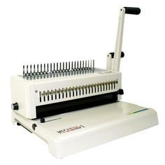 """Akiles Megabind 2 Comb Binding Machine with Wire Closer. The Akiles MegaBind 2 is one of the most complete and professional punch and bind peices of equipment in its market. It's all metal construction is built to last and it includes a 14"""" punching throat for legal sized documents. With all metal construction and a heavy duty two handle construction the Megabind 2 is built to last and will stand up to almost any application."""