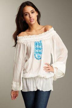 pretty white peasant blouse
