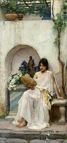 """Flora"" 1890 by Waterhouse (1849-1917). Oil on canvas (73x33cm). American Private Collection. Flora was one of a small number of paintings inspired by a trip made to the island of Capri. A  maiden is arranging irises and narcissi as offerings to the Roman goddess (bronze statue) who personified the coming of spring. The 'Florifertum' festival began in Rome in 238 B.C. but fell out of favour in 173 B.C. The connection between girls and flowers was to become the predominant theme of the…"