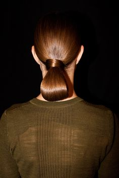 elegantly wrapped ponytail with high shine. look by bumble & bumble for fashion week