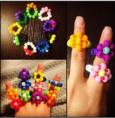 My rings I made that I will trade at EDC LAS VEGAS ! Kandi rings!