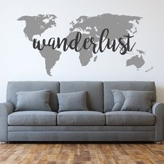 Have the travel bug? The word Wanderlust might describe you perfectly. It is a German word that means a strong desire to travel. Combined with a world map wall decal, this is a great home decor choice for those who love to travel.  Our wanderlust world map wall decals are cut from high quality vinyl and look painted on the wall. They come in two pieces (the map and the text) and are easy to install. Our decals will last many years on any clean smooth surface, yet are easy to remove.  Choose…