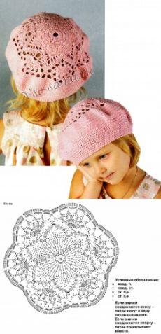 Розовый берет крючком - Детские шапочки крючком