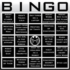 Agents of S.H.I.E.L.D. | Community Post: 19 Awesome Bingo Cards To Play While Watching Your Favorite TV Shows