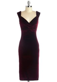 1940s style dress plus size wiggle pencil - Lady Love Song Dress in Merlot Velvet