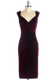 1940s style dress plus size wiggle pencil - Lady Love Song Dress in Merlot Velvet