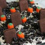 Graveyard Dirt Cake - oreos, cream cheese, cool whip, vanilla, pudding mix, milk