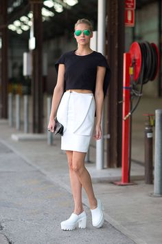 Chic in architectural skirt and top with Stella McCartney shoes. #AustraliaFashionWeek