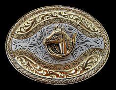 WESTERN HORSE HORSESHOE GOLDEN COWBOY RODEO BELT BUCKLE