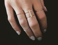 Double Stacked Diamond Line Bar Ring – Vrai & Oro