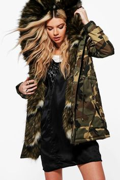 boohoo Una Khaki Camo Faux Fur Parka | #Chic Only #Glamour Always