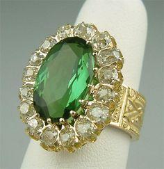 Victorian Gold, Tourmaline, Mine Cut Diamond Engagement Ring