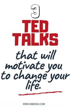 Are you ready to change your life? These motivational and inspirational TED Talks will urge you to overcome hurdles in life that might be holding you back. Work towards changing your life and make your dream life into a reality! Ted Talks Motivation, Inspirational Ted Talks, Best Ted Talks, Self Development, Personal Development, Leadership Development, Self Improvement Tips, Best Self, The Life