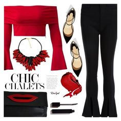 """""""Embellished Shoes"""" by meyli-meyli ❤ liked on Polyvore featuring Christian Louboutin, Call Of The Wild, Sonia Rykiel, Serge Lutens, top, redandblack, redtop and rosegal"""
