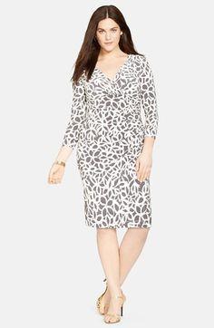 Lauren Ralph Lauren Print Faux Wrap Jersey Dress (Plus Size) available at #Nordstrom