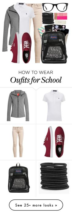 """""""School Outfit"""" by tell-me-pretty-lies on Polyvore featuring Polo Ralph Lauren, NIKE, Vans, Pusheen, Denik, Nikki Strange, JanSport, Muse, Boohoo and Kate Spade"""