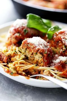 "Ricotta Zucchini ""Meatballs"" - Delicious, melt-in-your-mouth-amazing zucchini meatballs with ricotta and parmesan cheese, topped with a warm and bubbly tomato sauce! Easy Zucchini Recipes, Vegetable Recipes, Pasta Recipes, Vegetarian Recipes, Dinner Recipes, Cooking Recipes, Healthy Recipes, Vegetarian Kids, Vegetarian Barbecue"