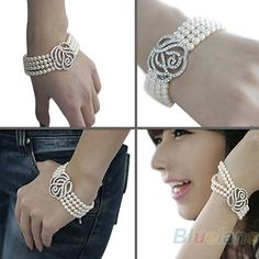 Fashion One Piece Women's Elegant 4 Layer Crystal Rose Flower Pearl Bangle Strand Bracelet Accessories Hot Selling € 1,27