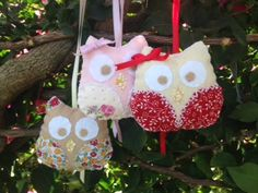 small felt and fabric owls, lightly padded. 3 pounds + postage