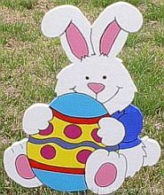 White Easter Bunny with Large Egg wooden yard art | woodengarden - Woodworking on ArtFire