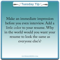 Color that resume!