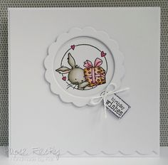CAS card featuring cute bunny (image from LOTV) Handmade Birthday Cards, Greeting Cards Handmade, Handmade Tags, Kids Cards, Baby Cards, Cardio Cards, Best Wishes Card, Karten Diy, Cute Cards