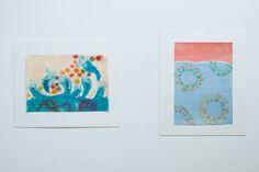 榎本謙二郎 Kenjiro Enomoto 左:「Drawing 1」 右:「 Drawing 2」 235×330㎜ oil on japanese paper  2015-紙の上の思考 thoughts through drawings-heart / Gallery惺SATORU